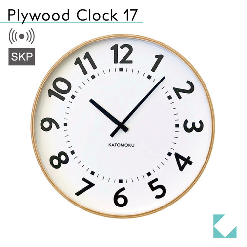 KATOMOKU plywood clock 17 km-106NARCS ナチュラル SKP電波時計