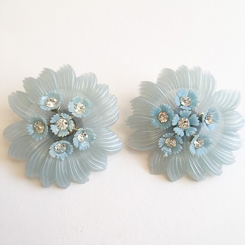 """Alice"" blue flower earring[e-768]"