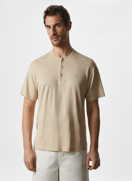 BUTTON NECK LINEN T-SHIRT