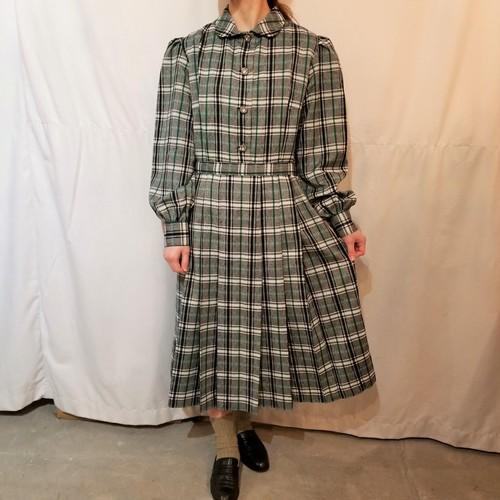 Vintage check pattern round collar one-piece [K-821]