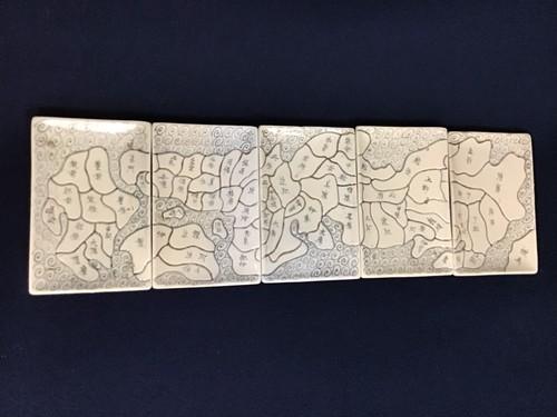 天保年製 日本地図 角皿5枚