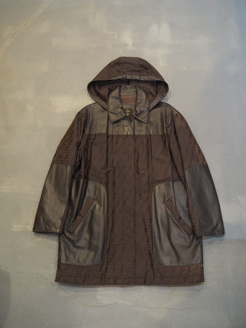 FENDI Zucca×Leather Foodie Coat / Made in Italy [1575]