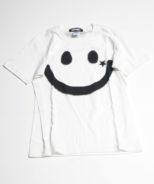 RAKUGAKI BIG SMILE T-Shirts White x Black