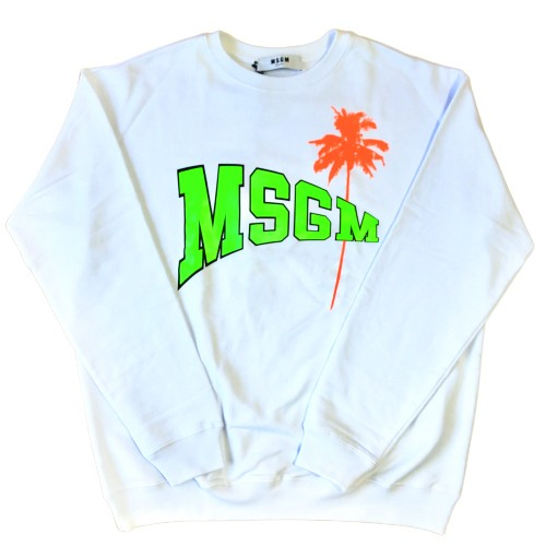 MSGM Palm Tree Sweat Shirts WHITE