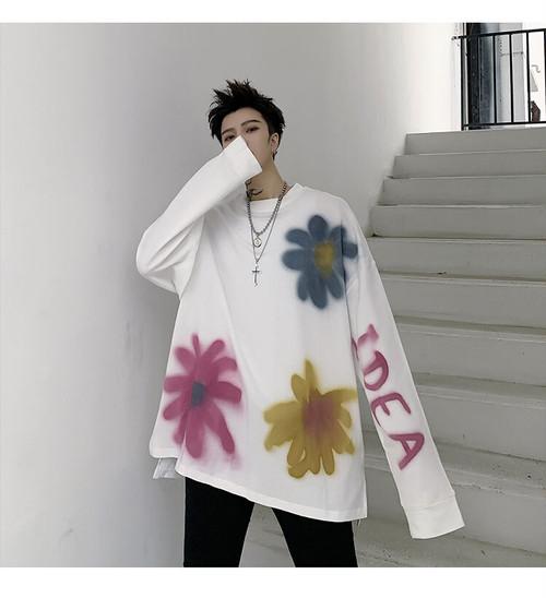 ★UNISEX  フラワーペイントトレーナー 韓国ファッション