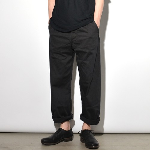 "Leather Cotton ""Wide"" Pants 〈Black〉"
