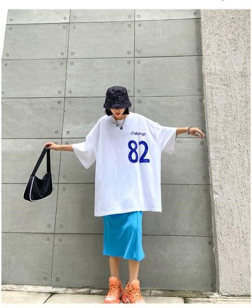 82スパンコールルーズフィットTシャツ 1U926