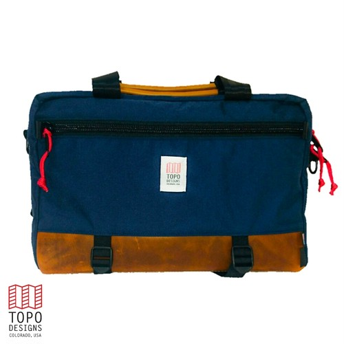 "TOPO DESIGNS ""COMMUTER BRIEFCASE"" NAVY/LEATHER"