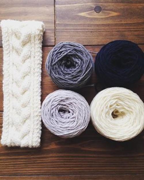 ヘアバンド 縄編み 針なし【編み物キット】