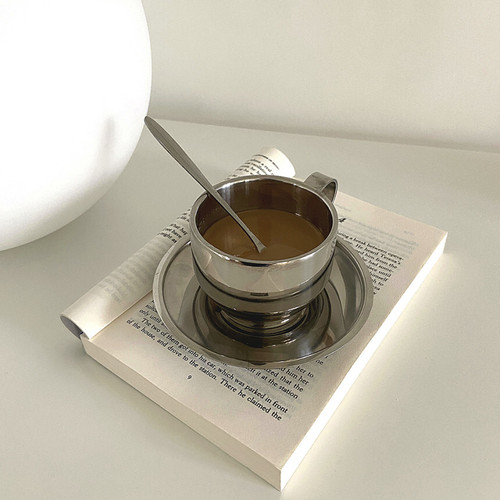 stainless cup saucer spoon set / ステンレス コップ ティーカップ ソーサー ティースプーン セット 韓国雑貨