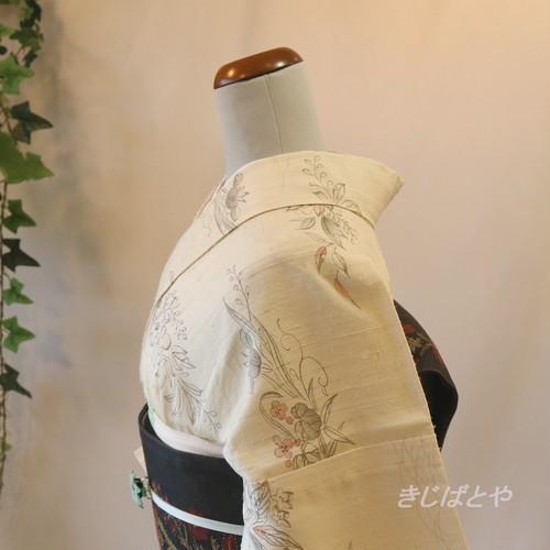 正絹紬 アイボリーに辻が花風の小紋 単衣