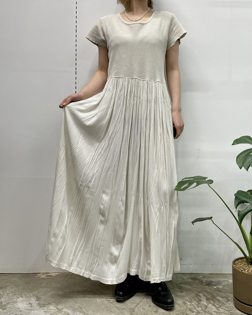 1990s MADE IN USA CHEROKEE cotton×rayon switching washer pleats maxi one-piece【S】
