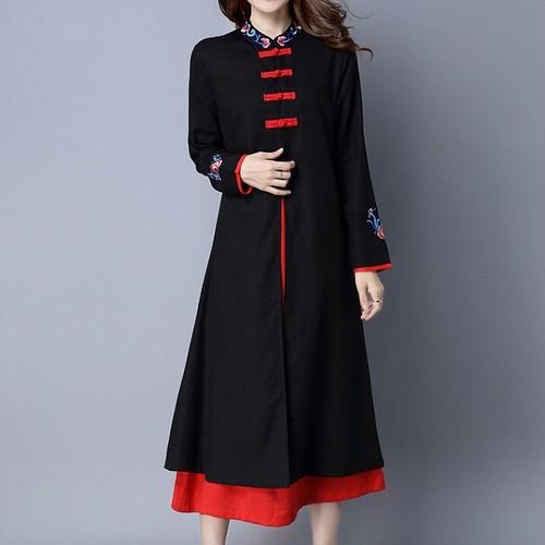 【送料無料】ワンピースドレス チーパオデザイン 花柄 刺繍 ロング丈 個性的 着こなし レトロ ドレスアップ(A011)