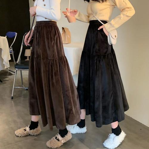 【送料無料】これからの季節に ♡ 大人可愛い カジュアル ベロア調 フレア Aライン ミモレ丈 ロングスカート