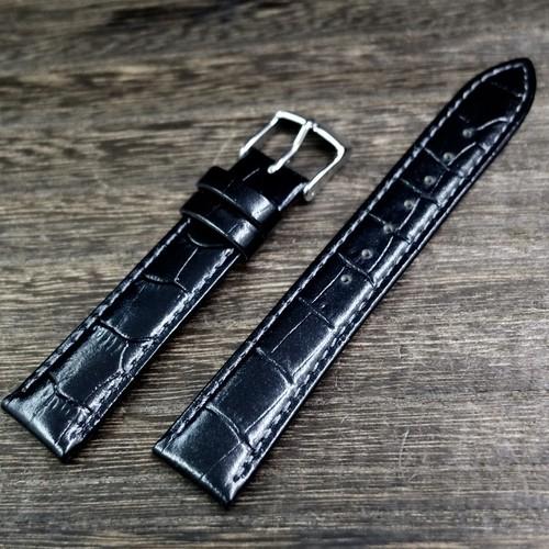 BAMBI 時計バンド 牛革 型押し グレーシャス スコッチガード ブラック 18mm  腕時計ベルト