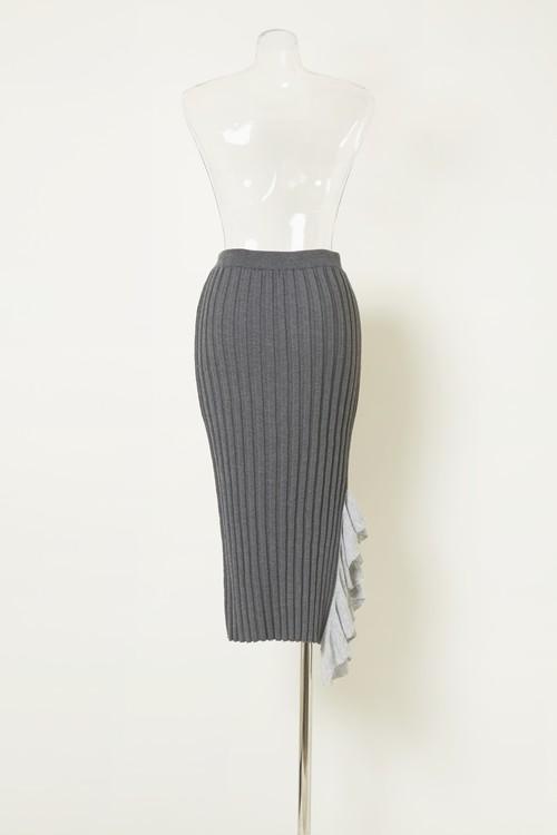 ワイドリブリボンニットスカート BLACK