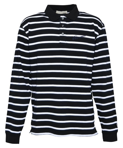 MULTI BORDER BIG LONG SLEEVE POLO SHIRTS[REC419]