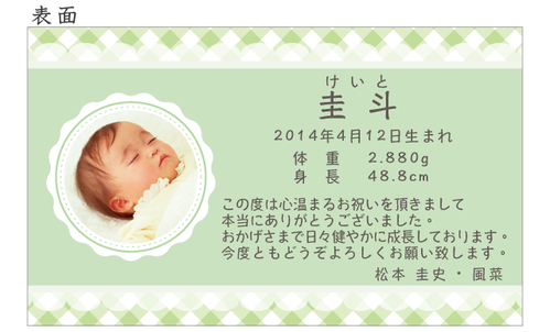 出産内祝いのメッセージカード ポップなチェック きみどり 100枚