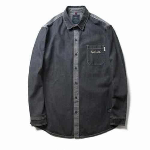 送料無料/メンズ/大きいサイズ/バイカラー/ポケットロゴ/長袖シャツ