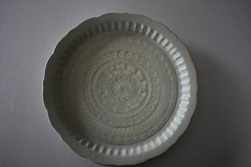 マルヤマウエア 三島リム皿8寸B