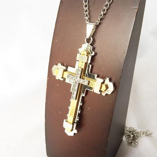 ジルコニア クロス 十字架 ラインストーン コンビ 金 銀 ゴールド シルバー GOLD SILVER 668