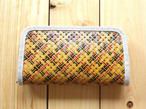 竹と麻の財布・大 四つ目編み漆仕上げ・チェック柄【受注生産】