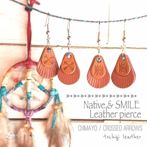 Native & SMILE Leather pierce chimayo/crossed arrows