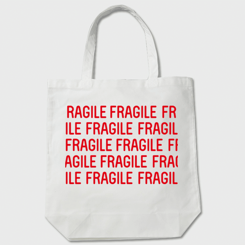 FRAGILE TOTE トートバッグ 白    送料無料