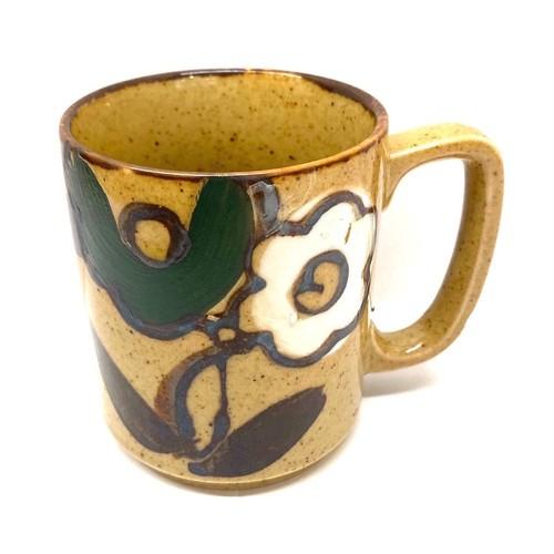 緑と白の花のマグカップ(SA285)