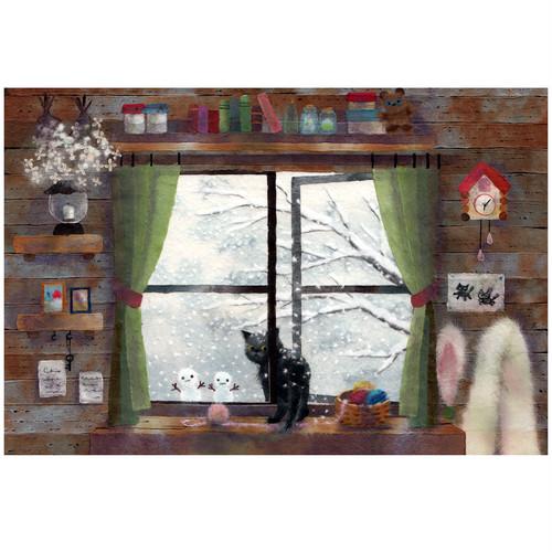 『呼んだ?』  窓辺の黒猫シリーズ冬 かわいいイラスト ポストカード