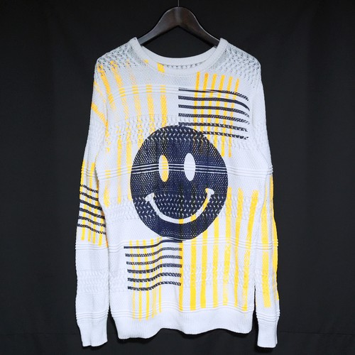 RE1045: SMILEY CHECK CREW NECK KNIT