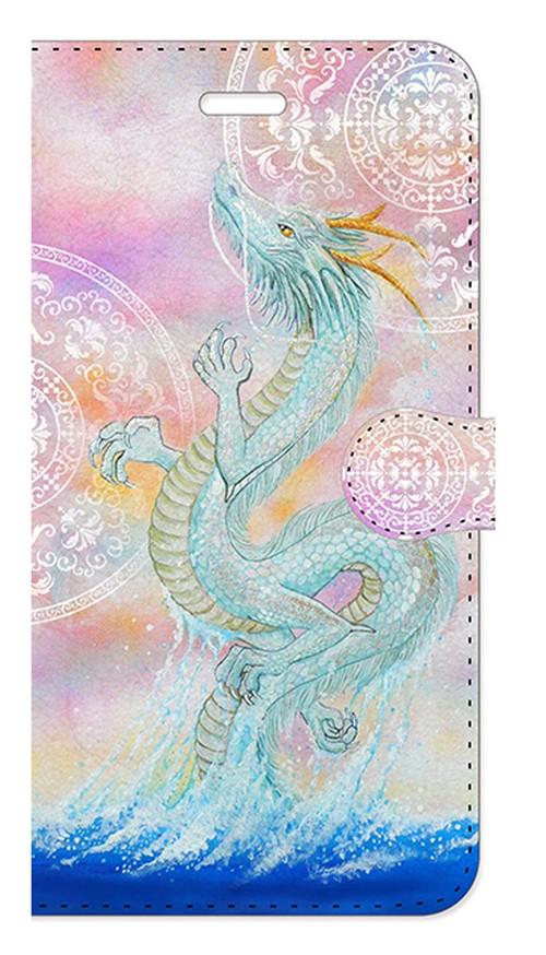 【iPhone6Plus/6sPlus】龍宮神 白曼荼羅つき RyuGuJin Divine Dragon-White Mandala 手帳型スマホケース