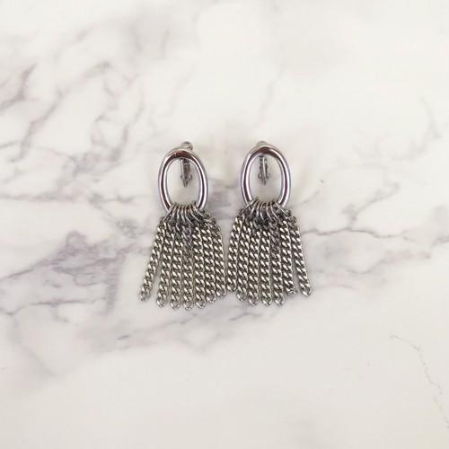 Silver Oval ring×chain Pierce/Earring