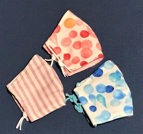 立体ガーゼマスク・Sサイズ3枚組(ノーマルタイプ)赤水玉・青水玉・ストライプ