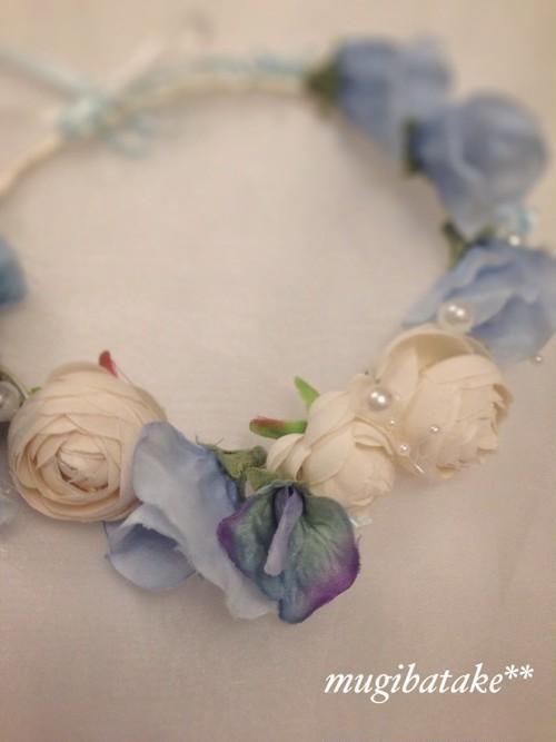 ブルーフラワーの花冠
