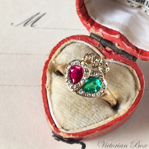 Victorian Ruby Emerald Double Heart Ring