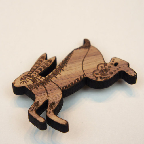 Leaping Hare Wood Brooch