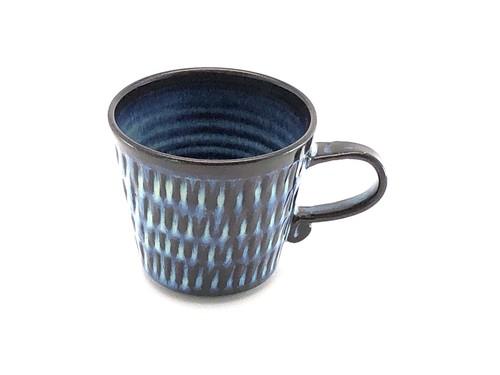 藁灰釉しのぎマグカップ