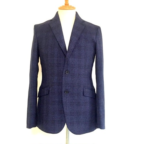 Tweed Check 2B Tailored Jacket Navy