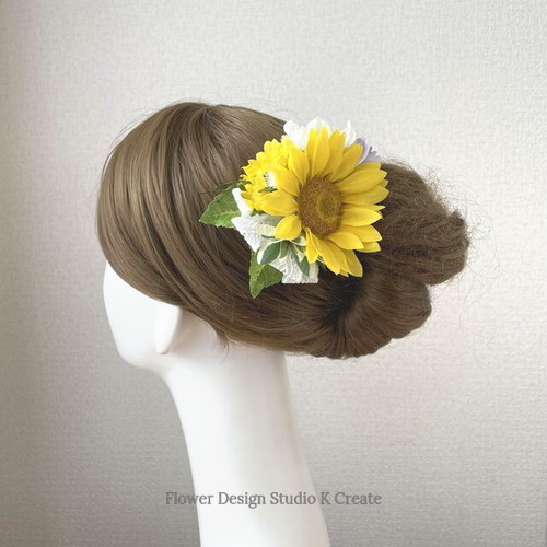 向日葵とデルフィニュウムのヘアクリップ  レースリボン 向日葵 おでかけ 浴衣 イエロー 髪飾り