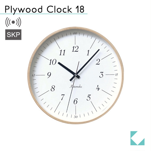 KATOMOKU plywood clock 18 km-110NARCS ナチュラル SKP電波時計
