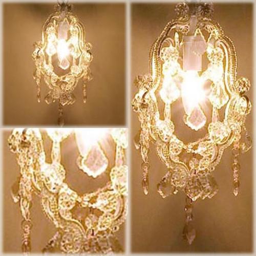 ヨーロッパ風★1灯ガラスシャンデリア カシオペア ホワイト♪