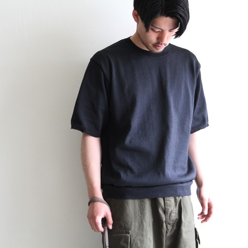 STILL BY HAND【 mens 】pe/ramie crew neck knit