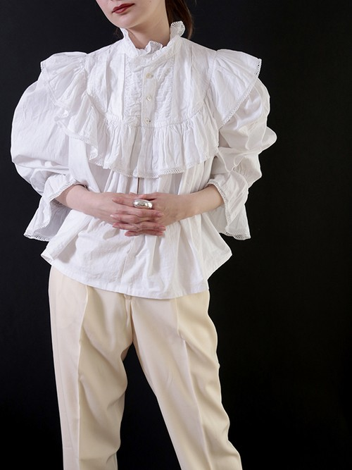 1910's Edwardian Cotton Frilled Lace Smock