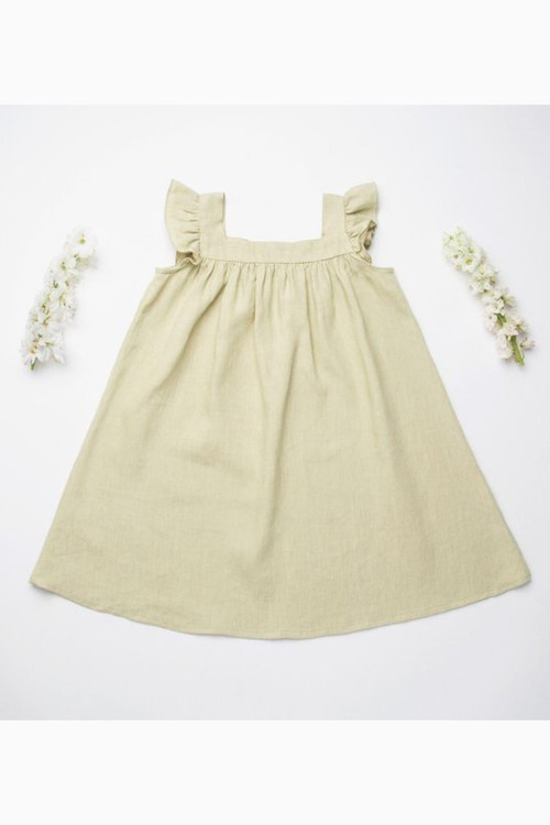 Nellie Quats Leap Frog Dress - Soft Sage Linen