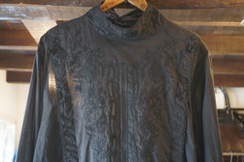 black embroidered gauze Victorian Blouse