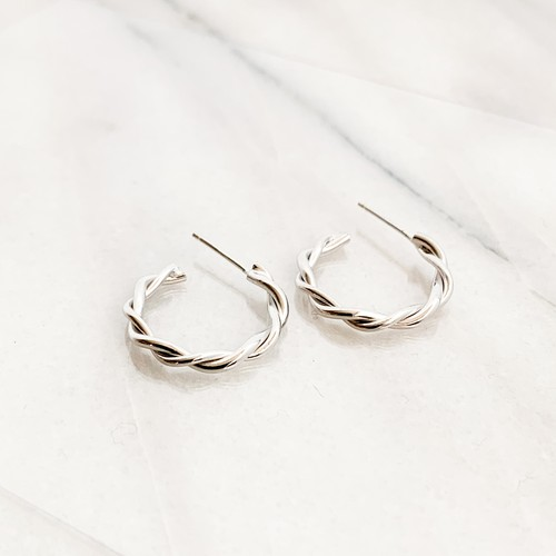 sv925 Silver Twist Hoop Pierce