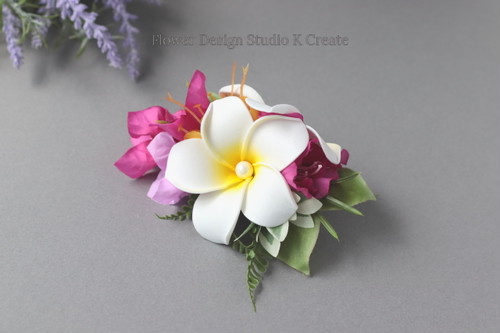 白いプルメリアとピンクのブーゲンビリアのヘアクリップ:B トロピカルフラワー フラダンス 浴衣髪飾り ウェディング
