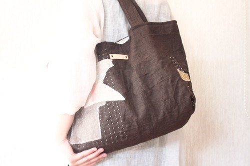 spica.g collage totebag 黒鳶