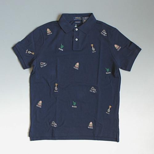 【メール便全国送料無料】POLO RalphLauren ポロ・ラルフローレン 刺繍ワッペンデザイン ポロシャツ CUSTOM SLIM FIT ポロベアー ネイビー